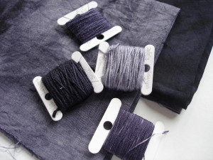 Threads dyed with logwood - shading to grey