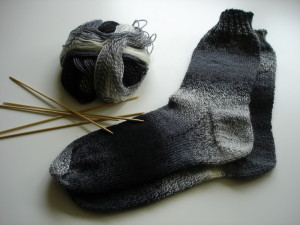 Socks, wool, double-pointed needles