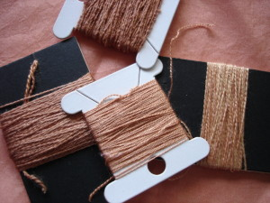 Silk threads dyed with madder