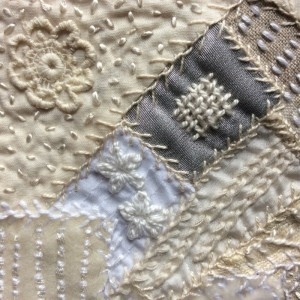 Whitework - crazy patchwork - detail