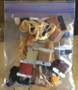 Yello threads in ziplock bag