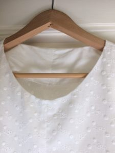 Broderie anglaise pleat detail top neck c